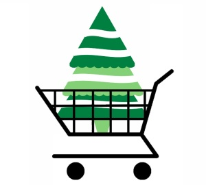 Christmas tree in cart